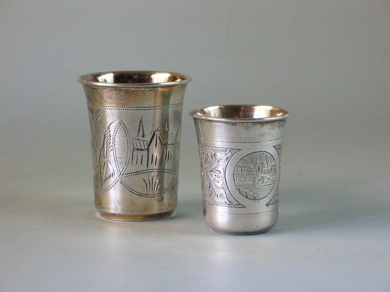 Engraved Lot of Two Imperial Russian Silver Vodka Cups For Sale
