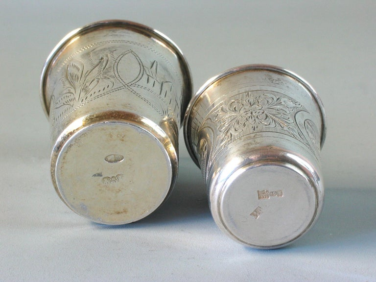 19th Century Lot of Two Imperial Russian Silver Vodka Cups For Sale