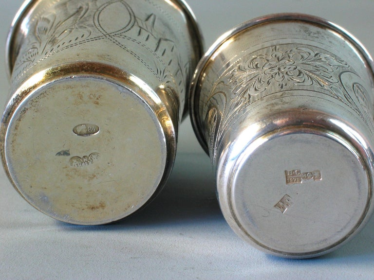 Lot of Two Imperial Russian Silver Vodka Cups For Sale 1