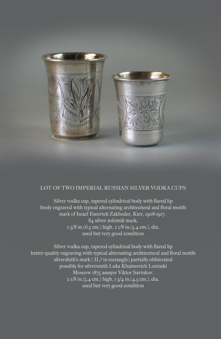 Lot of Two Imperial Russian Silver Vodka Cups For Sale 3
