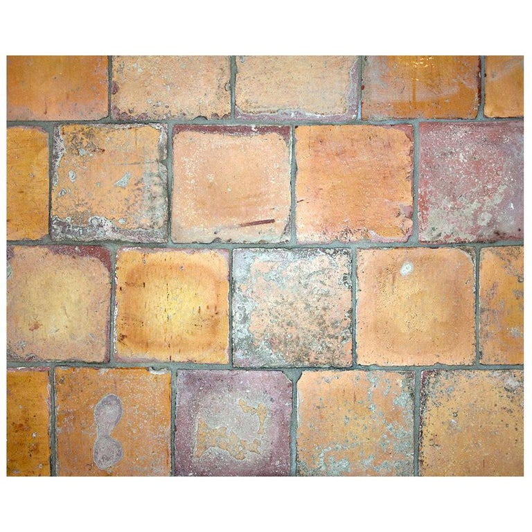 Lot of Yellow Antique Glazed Dutch Terracotta Tiles, Late 18th Century For Sale