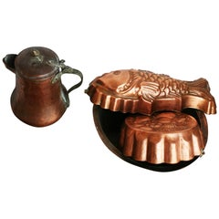 Lot Old Copper Molds and Utensils to Decorate Your Kitchen