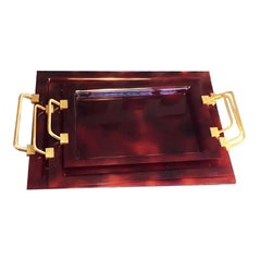 Lote of Three Trays Midcentury Lucite and Brass, Italy, 1970s