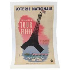 Loterie Nationale Tranche de la Tour Eiffel Original Vintage Poster