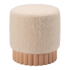 Loto Pouf, Beech Wood and Leather or Fabric