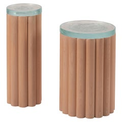 Loto Side Table Tall, Beech Wood, Black Oak or Tzalam Wood and Fusion Glass