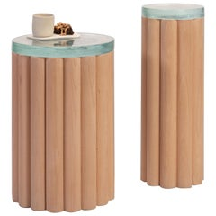 Loto Side Tables, Set of 2, Beech Wood and Fusion Glass