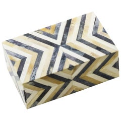 Lottie Box in Ivory and Brown Bone by CuratedKravet