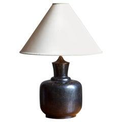 Lottie Lindahl, Sizable Table Lamp, Stoneware, Bing & Grøndal, Denmark, 1940s