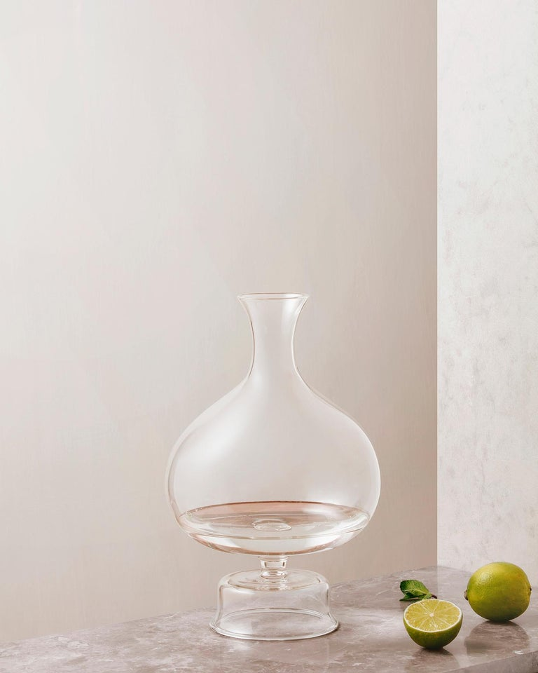 Modern Lotty Mouth Blown Glass Decanter/Vase Designed by Aldo Cibic For Sale