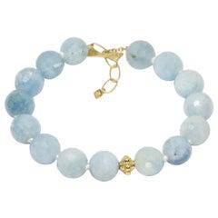 Lotus Aquamarine 18 Karat Gold Wrap Bracelet