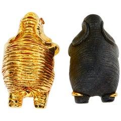 Lotus Arts De Vivre 18 Karat Gold and Black Wood Elephant Diamond Earrings
