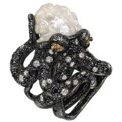 Lotus Arts de Vivre Baroque Pearl and Multicolored Diamond Octopus Ring