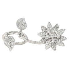 'Lotus' Between Finger Ring Set with Top Quality Diamonds in 18 Karat White Gold