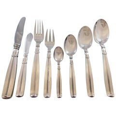Lotus by Sorensen Danish Sterling silver Flatware Set 12 Service 105 Pcs Dinner