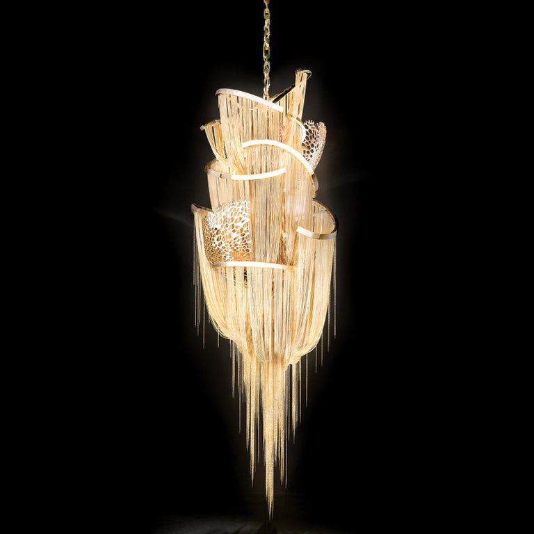 Barlas Baylar launched the first-ever chain chandelier in 2008. Following the expression of hisgenuine artistic vision that granted chain chandeliers to interior design industry, he has inspired many other designers & companies. Before the first