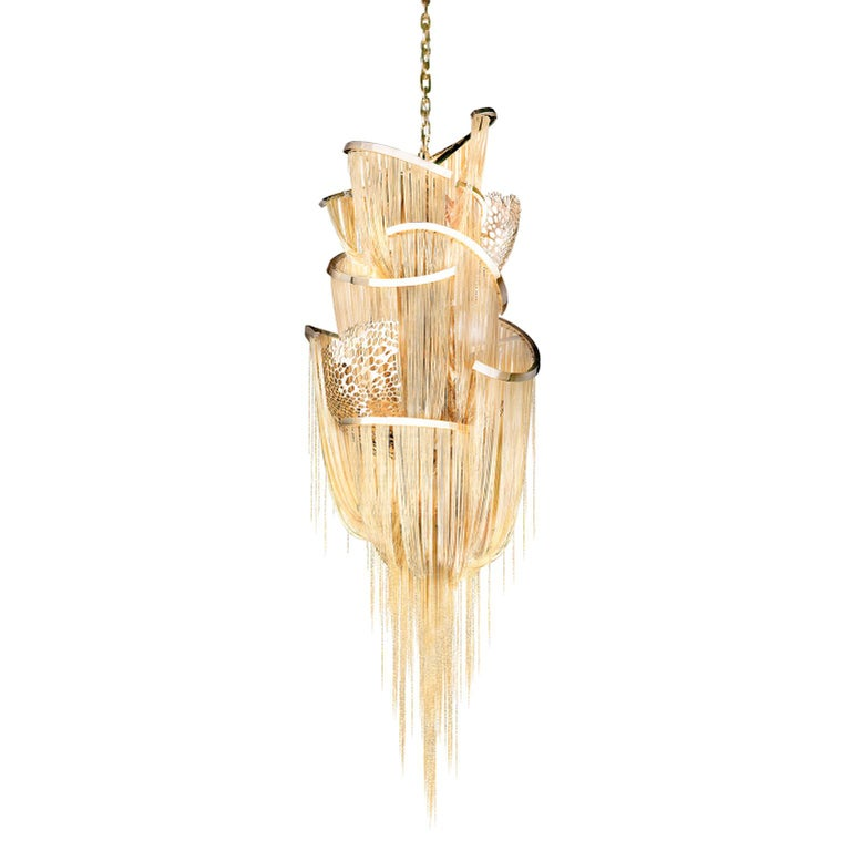 Polished Lotus Chandelier by Barlas Baylar For Sale
