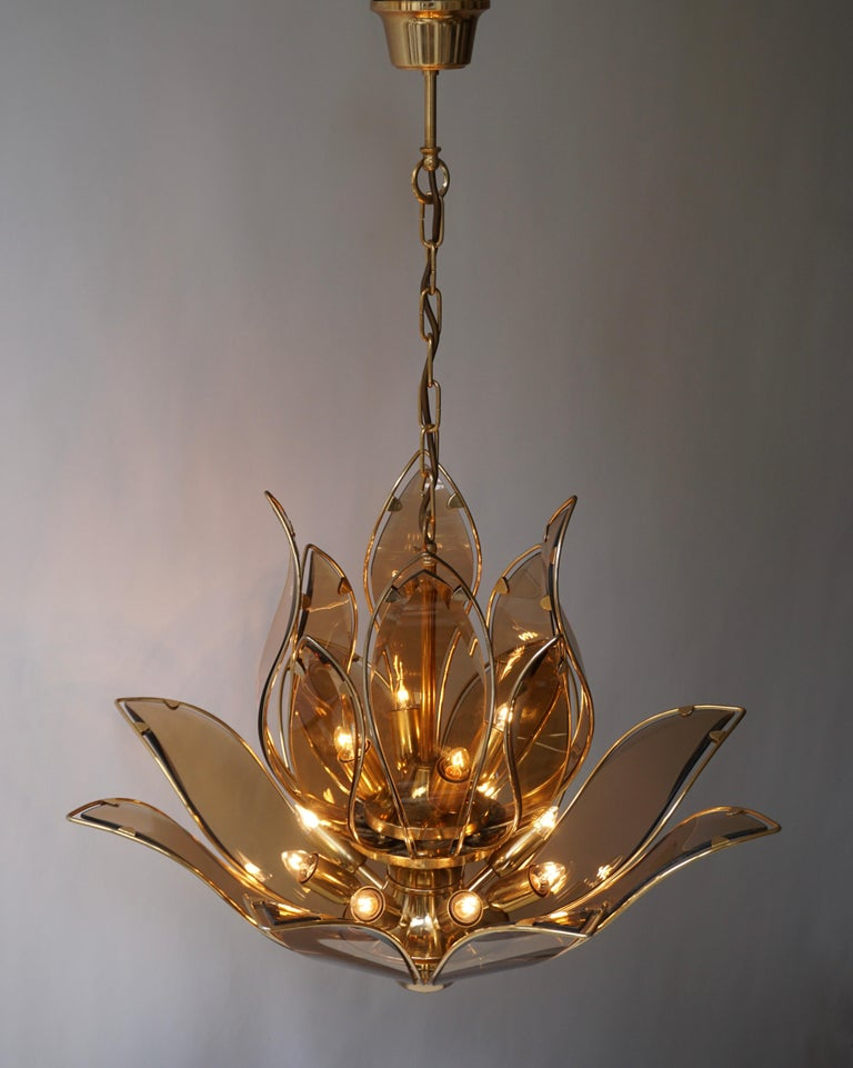Italian Lotus Chandelier in Brass and Glass For Sale