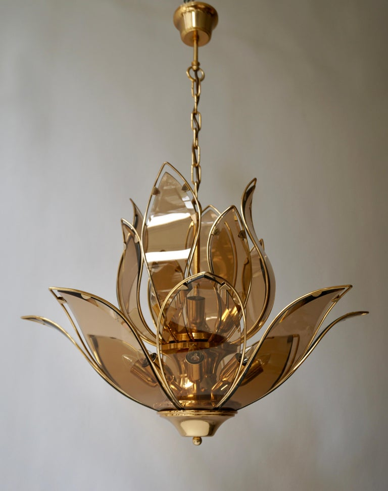 20th Century Lotus Chandelier in Brass and Glass For Sale