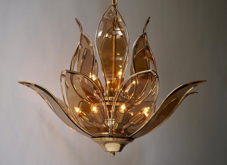 Lotus Chandelier in Brass and Glass For Sale 2