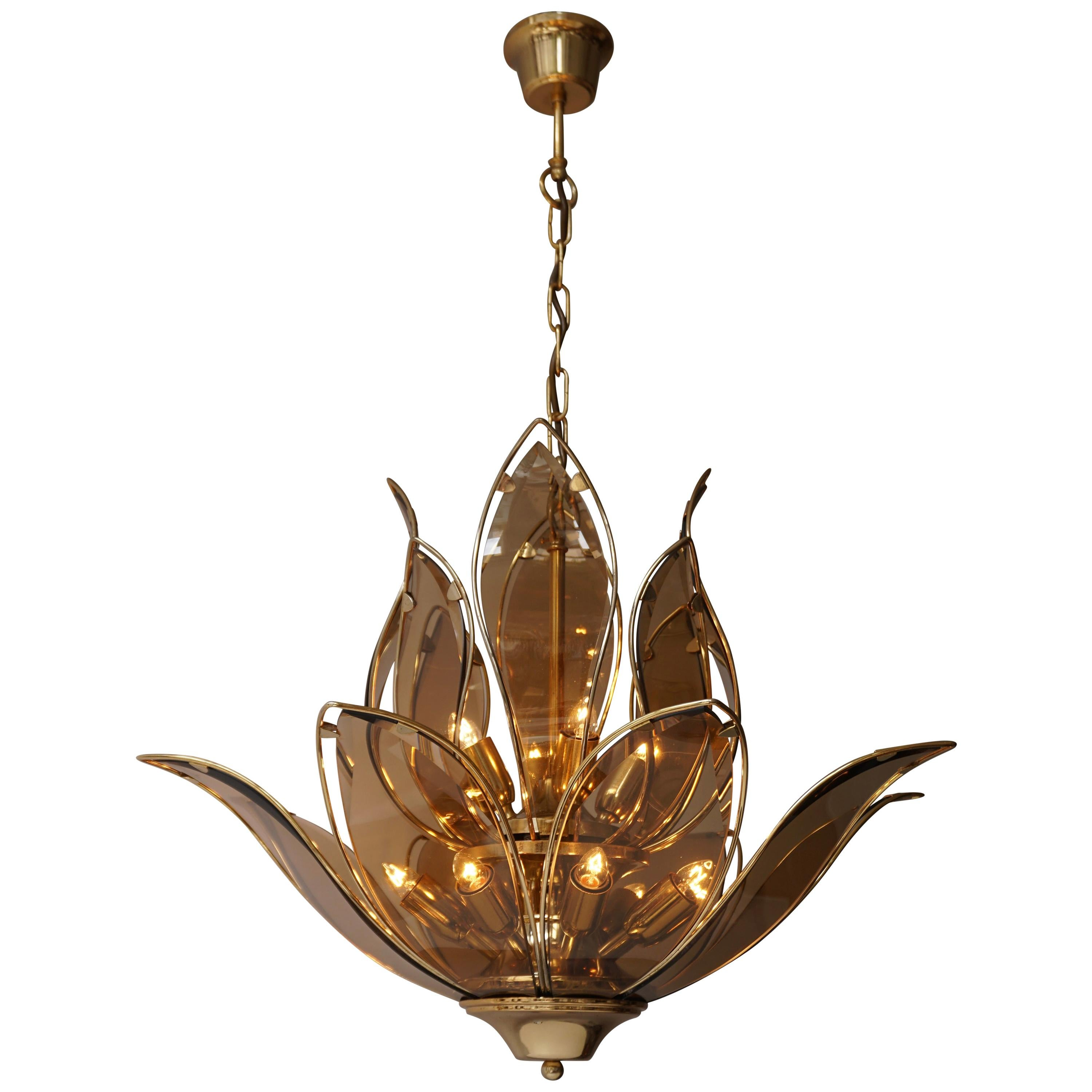 Lotus Chandelier in Brass and Glass