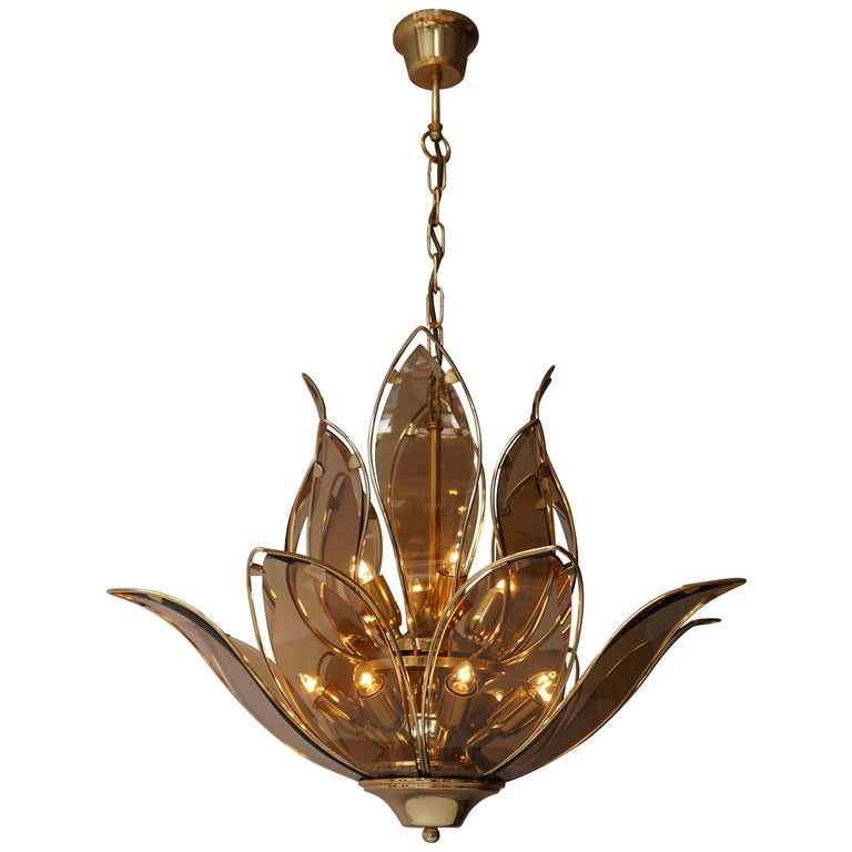 Lotus Chandelier in Brass and Glass For Sale
