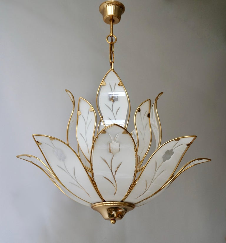 Lotus Chandelier in Brass and White Murano Glass For Sale 4