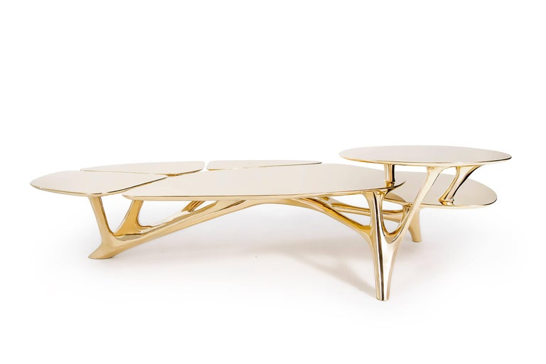 Chinese Lotus Coffee Table Polished Brass by Zhipeng Tan For Sale