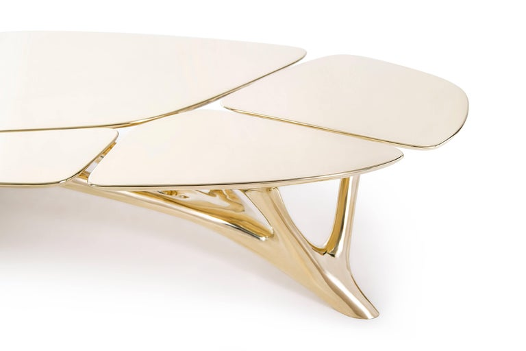 Lotus Coffee Table Polished Brass by Zhipeng Tan In New Condition For Sale In Los Angeles, CA