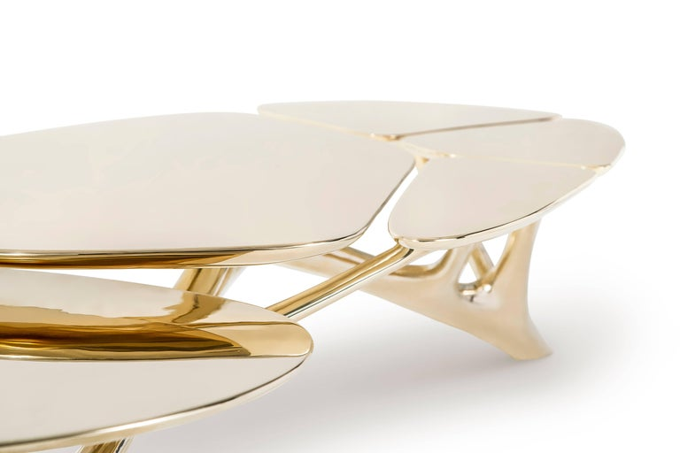 Contemporary Lotus Coffee Table Polished Brass by Zhipeng Tan For Sale