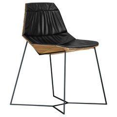 Lotus, Contemporary Geometric Chair Composed with Metal, Wood and Leather