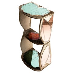 Lotus Contemporary Side Table, Three Shelves, Velvet, Silvered Glass Rose Jade