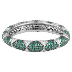 Lotus Eternity Band Ring with White Diamond Petals and Pave Set Emeralds