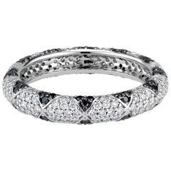 Lotus Eternity Band Ring with Black Diamond Petals and Pave Diamonds