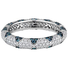 Lotus Eternity Band with Blue Sapphire Petals and Pave Diamonds