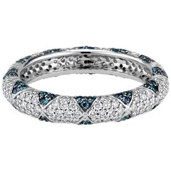 Lotus Eternity Band Ring with Blue Sapphire Petals and Pave Diamonds