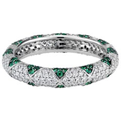 Lotus Eternity Band Ring with Emerald Petals and Pave Diamonds