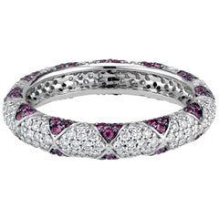 Lotus Eternity Band Ring with Ruby Petals and Pave Diamonds