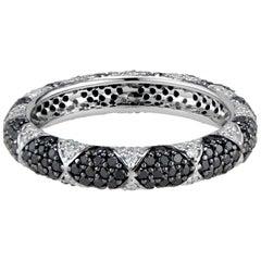 Lotus Eternity Band Ring with White Diamond Petals and Pave Black Diamonds