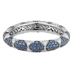 Lotus Eternity Band Ring with White Diamond Petals and Pave Blue Sapphires