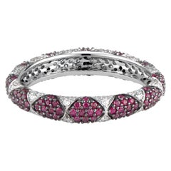 Lotus Eternity Band Ring with White Diamond Petals and Pave Set Rubies
