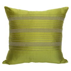 Lotus Flower and Silk Pillow from Myanmar, Chartreuse