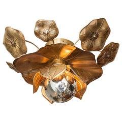 Brass Lotus Flower Ceiling Light