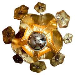 Single Lotus Brass Flower Light for wall or ceiling
