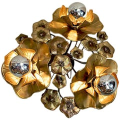 Triple Lotus Brass Flower Light for wall or ceiling
