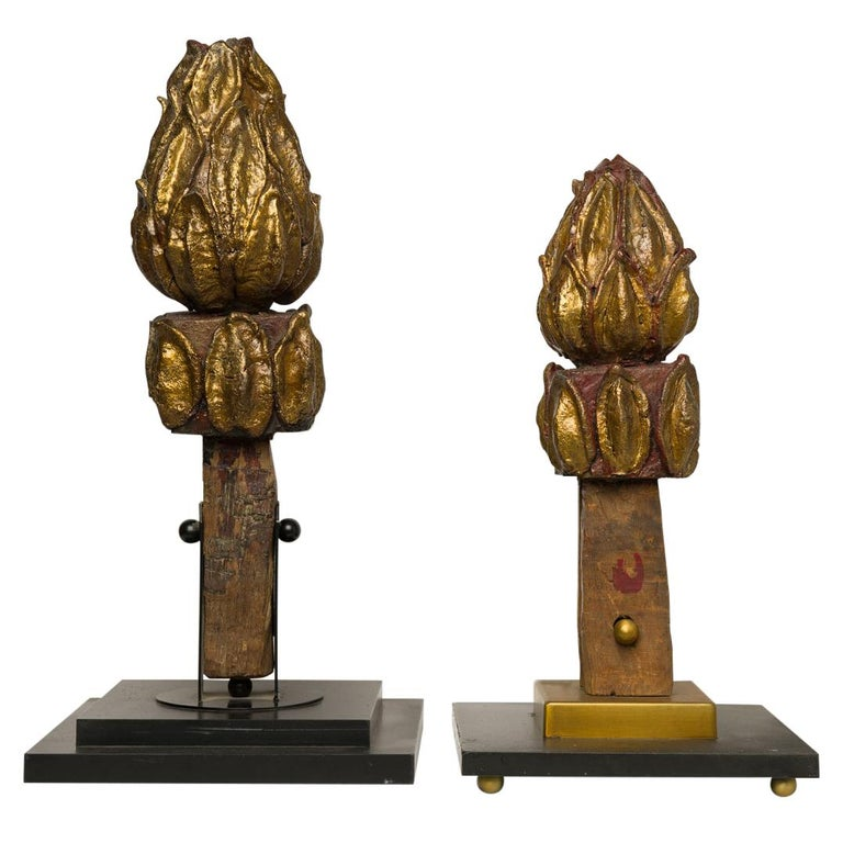 Lotus Flower Old Finial Sculptures For Sale