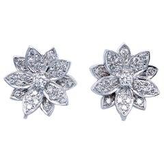 Lotus Flower Round Diamond Earrings in 18 Karat White Gold