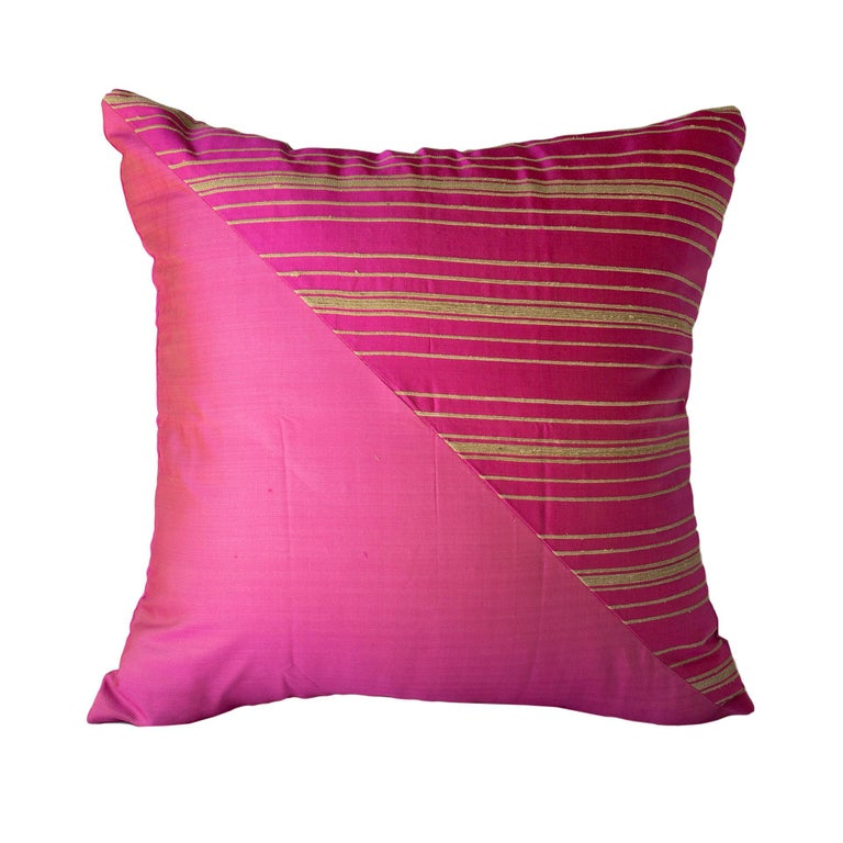 Lotus Flower and Silk Pillow from Myanmar, Hot Pink For Sale 4