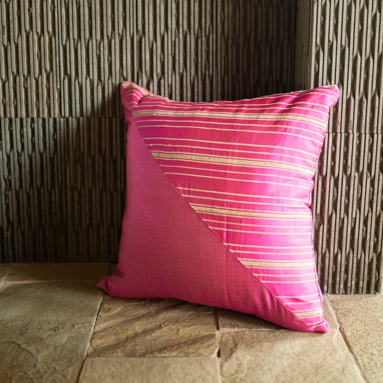 Hand-Woven Lotus Flower and Silk Pillow from Myanmar, Hot Pink For Sale