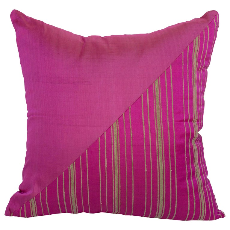 Lotus Flower and Silk Pillow from Myanmar, Hot Pink For Sale
